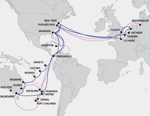 transit the Panama Canal (22); Papeete, Tahiti (31); Lautoka, Fiji (37);