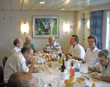 Dining with officers on freighter