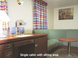 Single cabin, sitting area