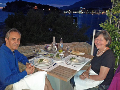 Capt. Ranko and Maja Zunic at Hotel Osejava, Makarska, summer 2015