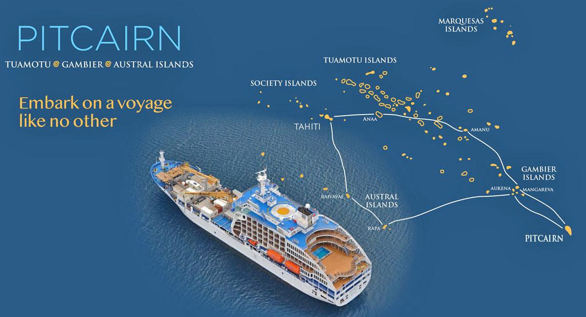 Aranui voyage map to Pitcairn Island