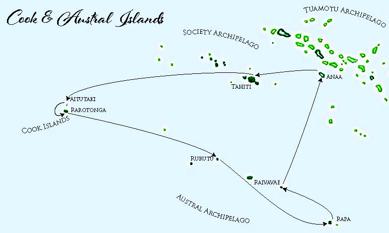 Aranui 5, map of Austral and Cook Islands