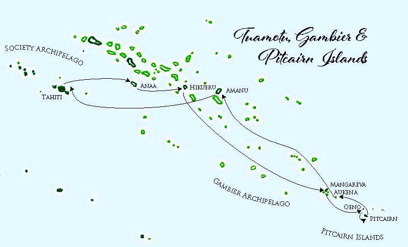 Aranui 5, map of Pitcairn Islands